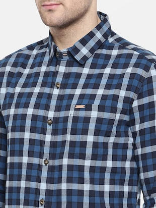 blue cotton casual shirt - 15731623 - Standard Image - 5