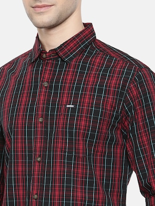 red cotton casual shirt - 15731625 - Standard Image - 5