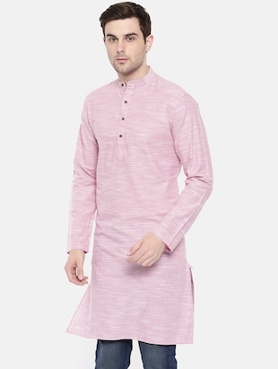 pink cotton long kurta - 15731641 - Standard Image - 2