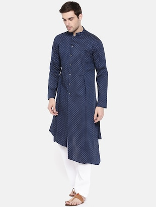 blue cotton asymmetric kurta - 15731652 - Standard Image - 2