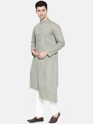 grey cotton asymmetric kurta - 15731660 - Standard Image - 2