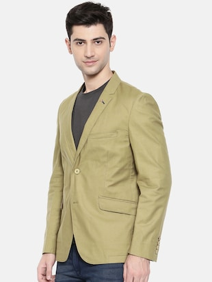 green cotton single breasted blazer - 15731674 - Standard Image - 2