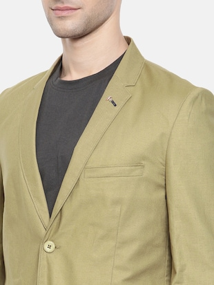 green cotton single breasted blazer - 15731674 - Standard Image - 5