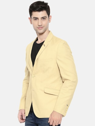 beige cotton single breasted blazer - 15731677 - Standard Image - 2