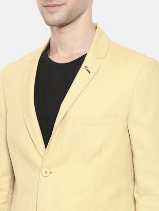 beige cotton single breasted blazer - 15731677 - Standard Image - 5