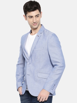 light blue cotton single breasted blazer - 15731678 - Standard Image - 2