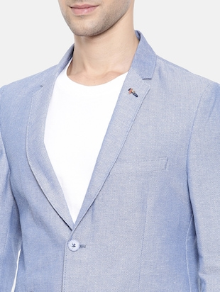 light blue cotton single breasted blazer - 15731678 - Standard Image - 5