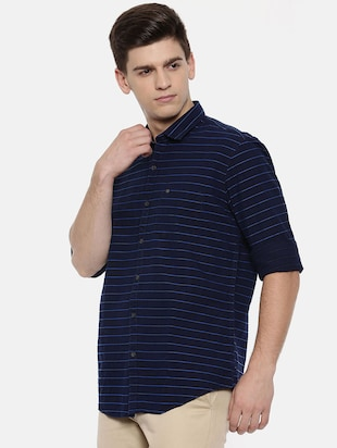 navy blue cotton casual shirt - 15731789 - Standard Image - 2