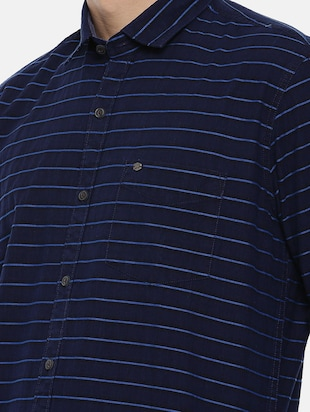 navy blue cotton casual shirt - 15731789 - Standard Image - 5