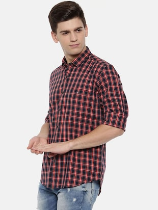 red cotton casual shirt - 15731792 - Standard Image - 2