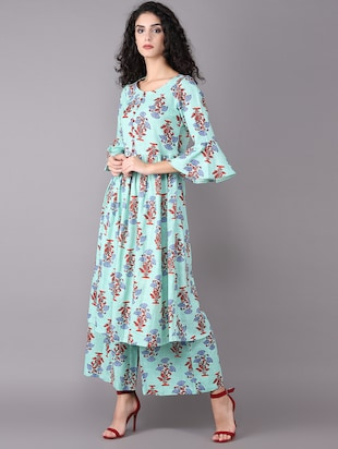 Printed bell sleeved kurta with palazzo set - 15731809 - Standard Image - 2