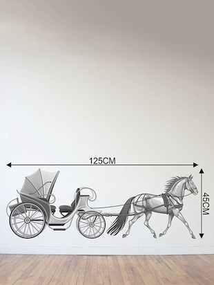 Rawpockets Wall Decals ' Horse Cart Wall Sticker '  Wall stickers (PVC Vinyl) Multicolour - 15733219 - Standard Image - 2