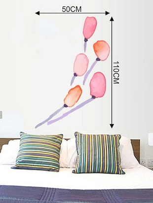 Rawpockets Wall Decals ' Red Tulip Flower and Blue Stem Wall Sticker '  Wall stickers (PVC Vinyl) Multicolour - 15733246 - Standard Image - 2