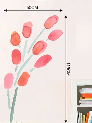 Rawpockets Wall Decals ' Pink Modern Flower Wall Sticker '  Wall stickers (PVC Vinyl) Multicolour - 15733250 - Standard Image - 2
