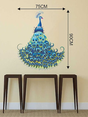 Rawpockets Wall Decals ' Peacock Bird Wall Sticker '  Wall stickers (PVC Vinyl) Multicolour - 15733252 - Standard Image - 2