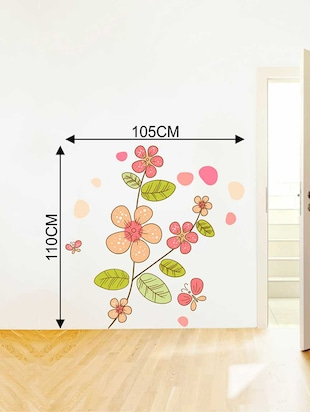 Rawpockets Wall Decals ' Flower Plant Wall Sticker '  Wall stickers (PVC Vinyl) Multicolour - 15733258 - Standard Image - 2
