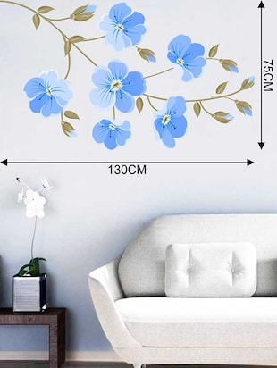 Rawpockets Wall Decals ' Indigo Flowers Wall Sticker '  Wall stickers (PVC Vinyl) Multicolour - 15733271 - Standard Image - 2