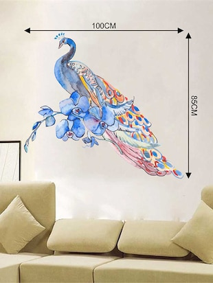 Rawpockets Wall Decals ' Watercolor Peacock Wall Sticker '  Wall stickers (PVC Vinyl) Multicolour - 15733276 - Standard Image - 2