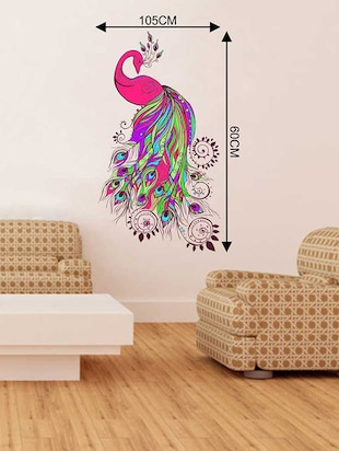 Rawpockets Wall Decals ' Pinkish Peacock Wall Sticker '  Wall stickers (PVC Vinyl) Multicolour - 15733278 - Standard Image - 2