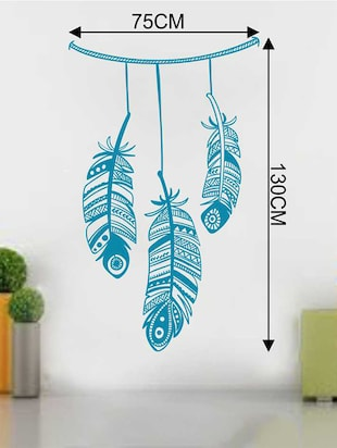 Rawpockets Wall Decals ' Good Vibes Feather Wall Sticker '  Wall stickers (PVC Vinyl) Multicolour - 15733280 - Standard Image - 2