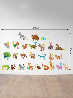 Rawpockets Wall Decals ' ABCD Animals Name Wall Sticker '  Wall stickers (PVC Vinyl) Multicolour - 15733291 - Standard Image - 2
