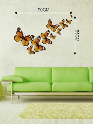 Rawpockets Wall Decals ' Butterfly Family Wall Sticker '  Wall stickers (PVC Vinyl) Multicolour - 15733306 - Standard Image - 2