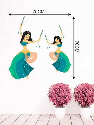 Rawpockets Wall Decals ' Garba Dancing Wall Sticker '  Wall stickers (PVC Vinyl) Multicolour - 15733313 - Standard Image - 2
