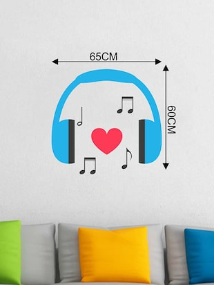 Rawpockets Wall Decals ' Headphone Music Wall Sticker '  Wall stickers (PVC Vinyl) Multicolour - 15733314 - Standard Image - 2