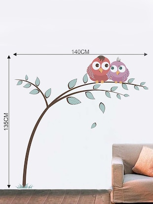 Rawpockets Wall Decals ' Owl on Tree Wall Sticker '  Wall stickers (PVC Vinyl) Multicolour - 15733325 - Standard Image - 2