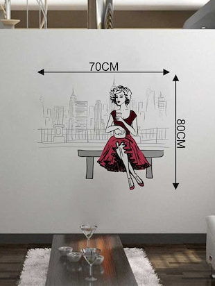 Rawpockets Wall Decals ' City n Girl Wall Sticker '  Wall stickers (PVC Vinyl) Multicolour - 15733328 - Standard Image - 2
