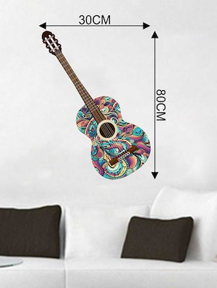Rawpockets Wall Decals ' Stylish Guitar Wall Sticker '  Wall stickers (PVC Vinyl) Multicolour - 15733330 - Standard Image - 2