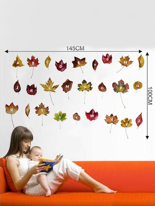 Rawpockets Wall Decals ' ABCD Leaf Wall Sticker '  Wall stickers (PVC Vinyl) Multicolour - 15733341 - Standard Image - 2