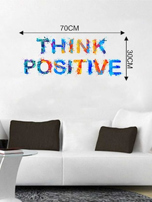 Rawpockets Wall Decals ' Think Positive Wall Sticker '  Wall stickers (PVC Vinyl) Multicolour - 15733352 - Standard Image - 2