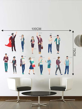 Rawpockets Wall Decals ' Office Activity Wall Sticker '  Wall stickers (PVC Vinyl) Multicolour - 15733368 - Standard Image - 2