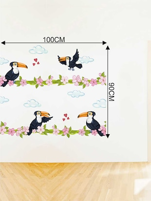 Rawpockets Wall Decals ' Wood Pecker Bird Love Wall Sticker '  Wall stickers (PVC Vinyl) Multicolour - 15733387 - Standard Image - 2