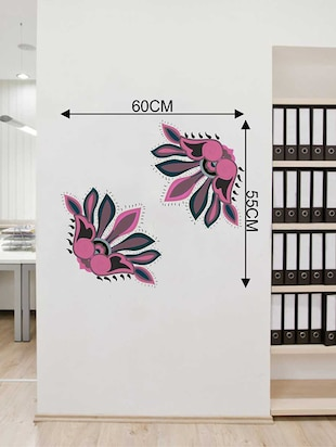 Rawpockets Wall Decals ' Border Decorative Pink Flower Wall Sticker '  Wall stickers (PVC Vinyl) Multicolour - 15733392 - Standard Image - 2