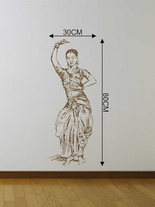 Rawpockets Wall Decals ' Women Classical Dance Pose' Wall Sticker '  Wall stickers (PVC Vinyl) Multicolour - 15733406 - Standard Image - 2