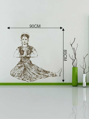 Rawpockets Wall Decals ' Bhartanatyam Pose Wall Sticker '  Wall stickers (PVC Vinyl) Multicolour - 15733407 - Standard Image - 2