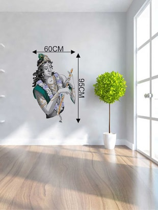 Rawpockets Wall Decals ' Sri Krishna with Flute Wall Decal Sticker '  Wall stickers (PVC Vinyl) Multicolour - 15733416 - Standard Image - 2