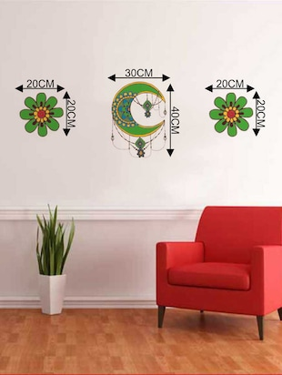 Rawpockets Wall Decals ' Decorative Flower and Half Moon Wall Decal Sticker '  Wall stickers (PVC Vinyl) Multicolour - 15733426 - Standard Image - 2