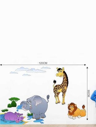 Rawpockets Wall Decals ' Baby Animals Jungle Story Wall Decal Sticker '  Wall stickers (PVC Vinyl) Multicolour - 15733427 - Standard Image - 2