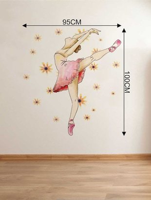 Rawpockets Wall Decals '  Ballerina Dance ' Wall Decal Sticker '  Wall stickers (PVC Vinyl) Multicolour - 15733435 - Standard Image - 2
