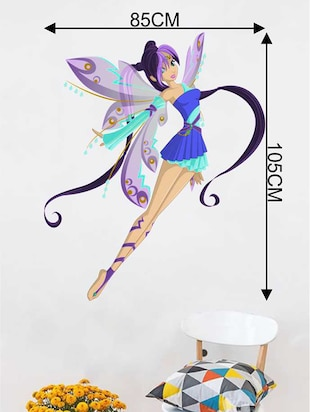 Rawpockets Wall Decals ' Cute Girl Angel' Wall Decal Sticker '  Wall stickers (PVC Vinyl) Multicolour - 15733444 - Standard Image - 2