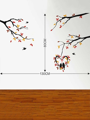 Rawpockets Wall Decals ' Love Birds on Hanging Heart-in Shape Tree' Wall Decal Sticker '  Wall stickers (PVC Vinyl) Multicolour - 15733448 - Standard Image - 2