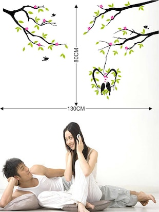 Rawpockets Wall Decals ' Love Birds on Pink Flower Tree' Wall Decal Sticker '  Wall stickers (PVC Vinyl) Multicolour - 15733449 - Standard Image - 2