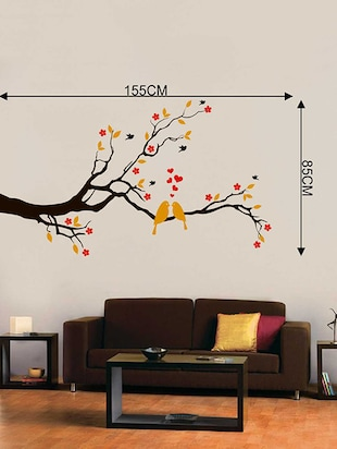 Rawpockets Wall Decals ' Red Flower and Love Birds' Wall Decal Sticker '  Wall stickers (PVC Vinyl) Multicolour - 15733451 - Standard Image - 2