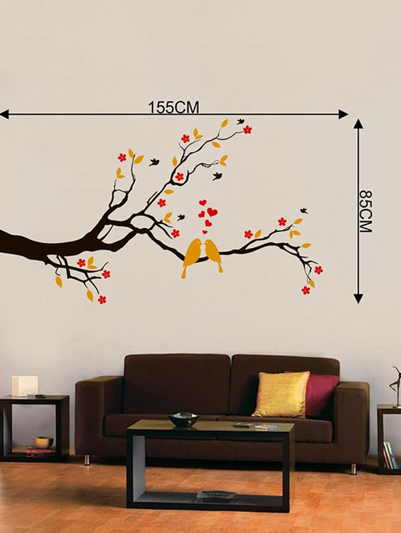 buy rawpockets wall decals ' red flower and love birds' wall decal