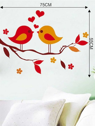 Rawpockets Wall Decals ' Red Love Birds on Violet Flower Tree' Wall Decal Sticker '  Wall stickers (PVC Vinyl) Multicolour - 15733455 - Standard Image - 2