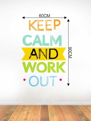 Rawpockets Wall Decals ' Keep Calm and Work Out Wall Decal Sticker '  Wall stickers (PVC Vinyl) Multicolour - 15733464 - Standard Image - 2