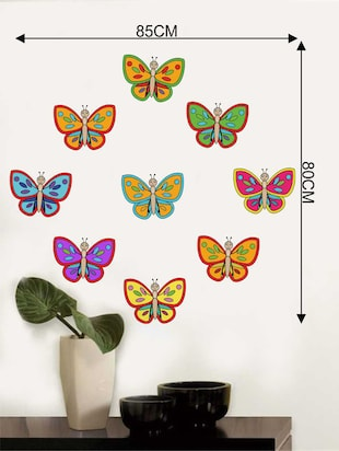 Rawpockets Wall Decals ' Colourful Butterflies Wall Decal Sticker '  Wall stickers (PVC Vinyl) Multicolour - 15733466 - Standard Image - 2